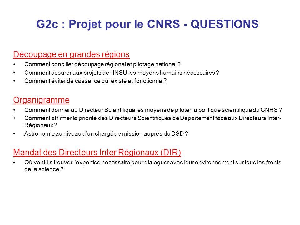 G2c : Projet pour le CNRS - QUESTIONS Découpage en grandes régions Comment concilier découpage régional et pilotage national ? Comment assurer aux pro