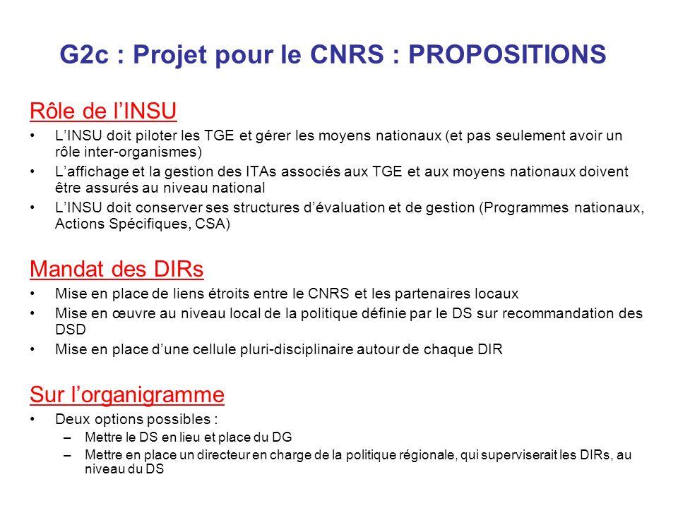 G2c : Projet pour le CNRS : PROPOSITIONS Rôle de lINSU LINSU doit piloter les TGE et gérer les moyens nationaux (et pas seulement avoir un rôle inter-