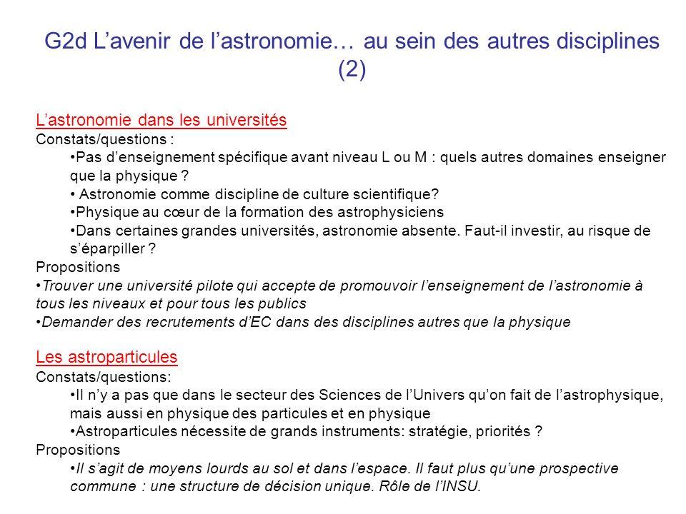 G2d Lavenir de lastronomie… au sein des autres disciplines (2) Lastronomie dans les universités Constats/questions : Pas denseignement spécifique avan