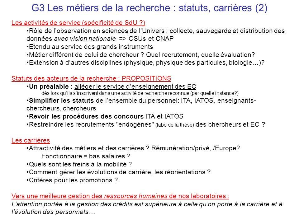 G3 Les métiers de la recherche : statuts, carrières (2) Les activités de service (spécificité de SdU ?) Rôle de lobservation en sciences de lUnivers :