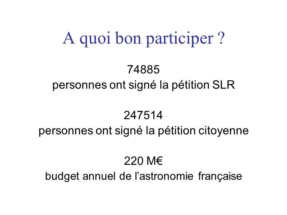 A quoi bon participer ? 74885 personnes ont signé la pétition SLR 247514 personnes ont signé la pétition citoyenne 220 M budget annuel de lastronomie