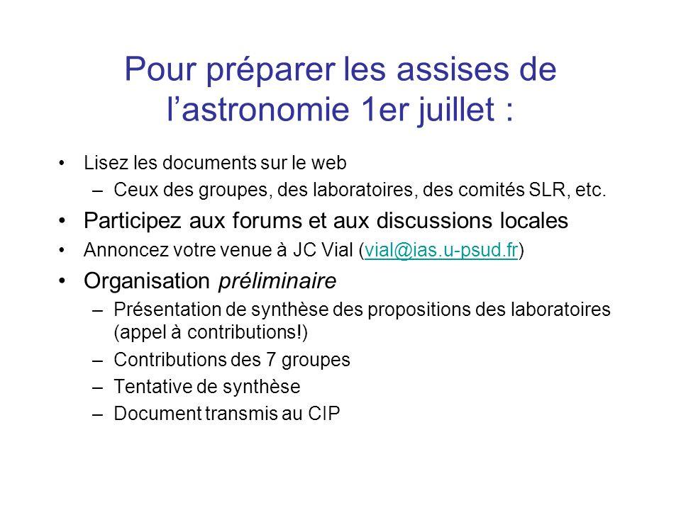 Pour préparer les assises de lastronomie 1er juillet : Lisez les documents sur le web –Ceux des groupes, des laboratoires, des comités SLR, etc. Parti