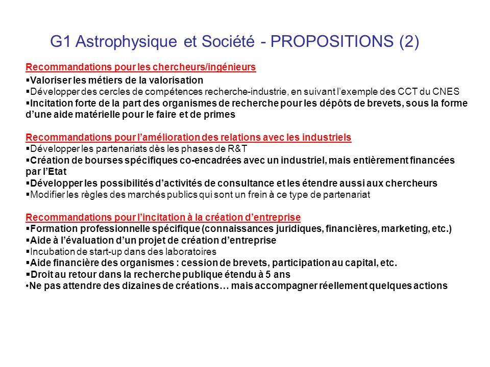 G1 Astrophysique et Société - PROPOSITIONS (2) Recommandations pour les chercheurs/ingénieurs Valoriser les métiers de la valorisation Développer des