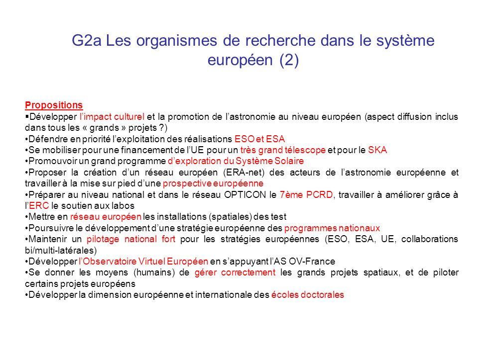 G2a Les organismes de recherche dans le système européen (2) Propositions Développer limpact culturel et la promotion de lastronomie au niveau europée