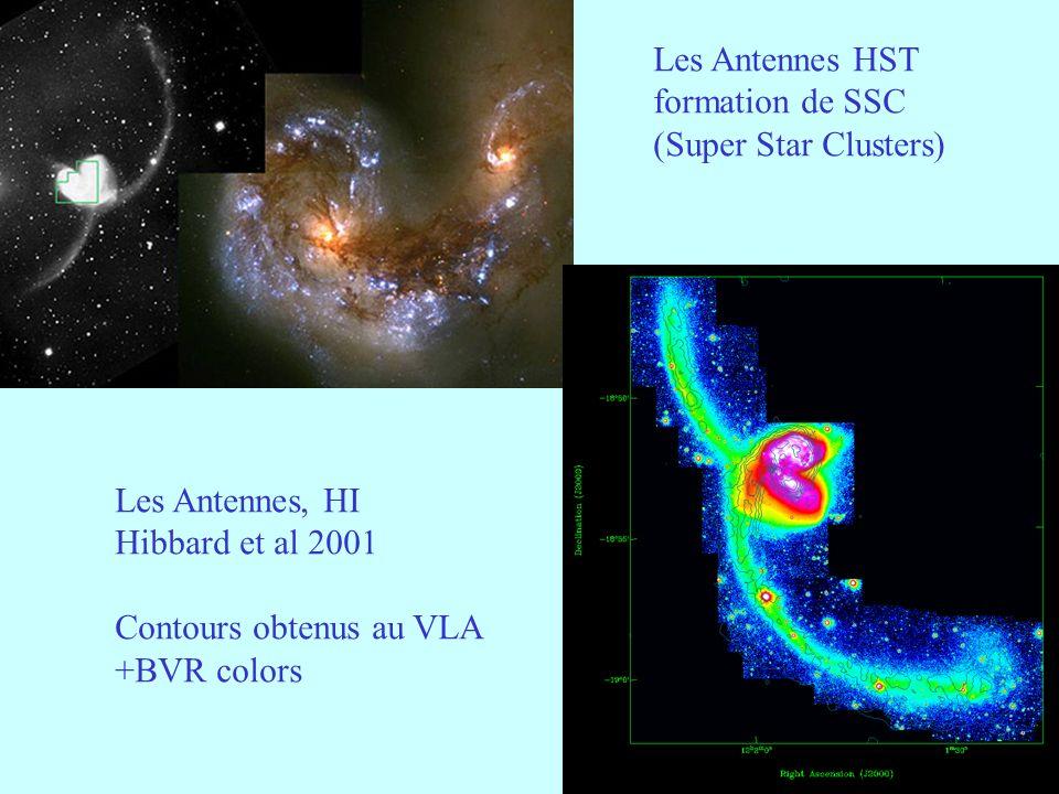 12 Les Antennes HST formation de SSC (Super Star Clusters) Les Antennes, HI Hibbard et al 2001 Contours obtenus au VLA +BVR colors