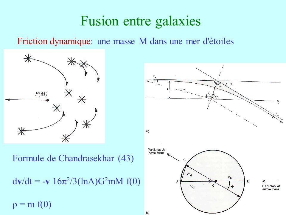 49 Fusion entre galaxies Friction dynamique: une masse M dans une mer d'étoiles Formule de Chandrasekhar (43) dv/dt = -v 16π 2 /3(lnΛ)G 2 mM f(0) ρ =