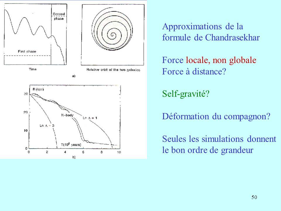 50 Approximations de la formule de Chandrasekhar Force locale, non globale Force à distance? Self-gravité? Déformation du compagnon? Seules les simula