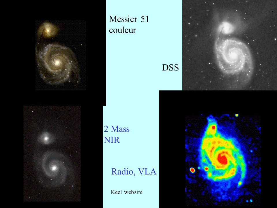 9 Messier 51 couleur DSS 2 Mass NIR Radio, VLA Keel website