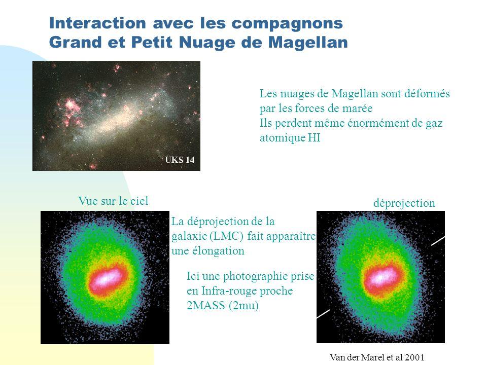 Interaction avec les compagnons Grand et Petit Nuage de Magellan Les nuages de Magellan sont déformés par les forces de marée Ils perdent même énormément de gaz atomique HI La déprojection de la galaxie (LMC) fait apparaître une élongation Ici une photographie prise en Infra-rouge proche 2MASS (2mu) déprojection Vue sur le ciel Van der Marel et al 2001