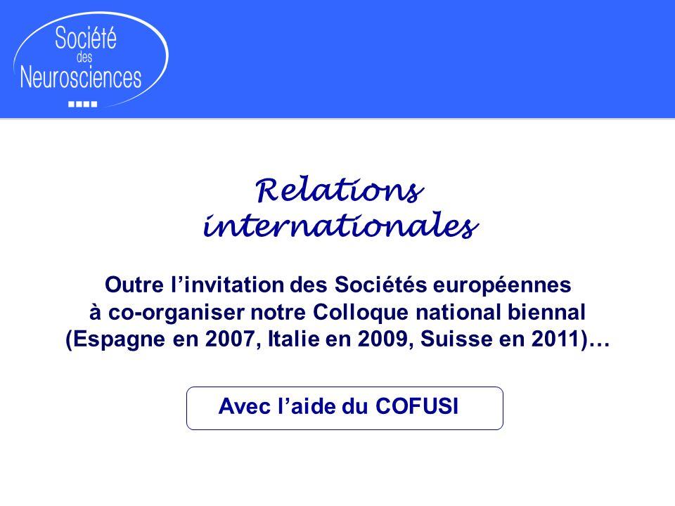 Relations internationales Outre linvitation des Sociétés européennes à co-organiser notre Colloque national biennal (Espagne en 2007, Italie en 2009,