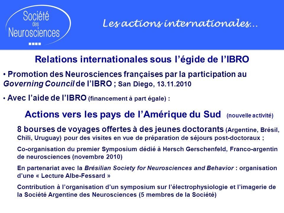 Les actions internationales… Relations internationales sous légide de lIBRO Promotion des Neurosciences françaises par la participation au Governing C
