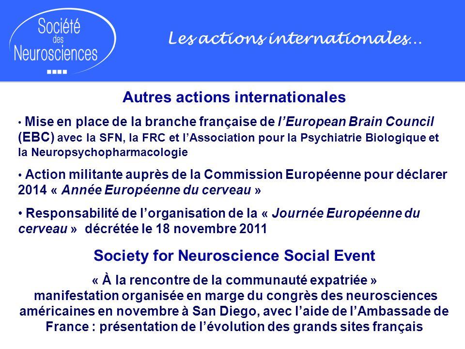 Les actions internationales… Autres actions internationales Mise en place de la branche française de lEuropean Brain Council (EBC) avec la SFN, la FRC
