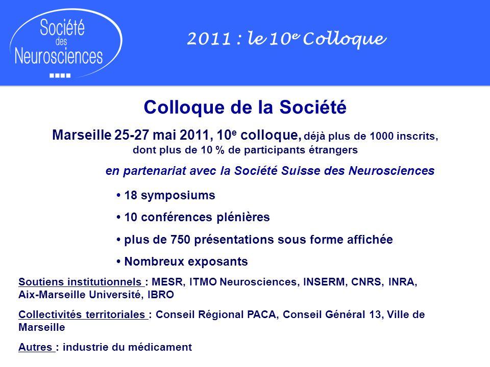 2011 : le 10 e Colloque Colloque de la Société Marseille 25-27 mai 2011, 10 e colloque, déjà plus de 1000 inscrits, dont plus de 10 % de participants