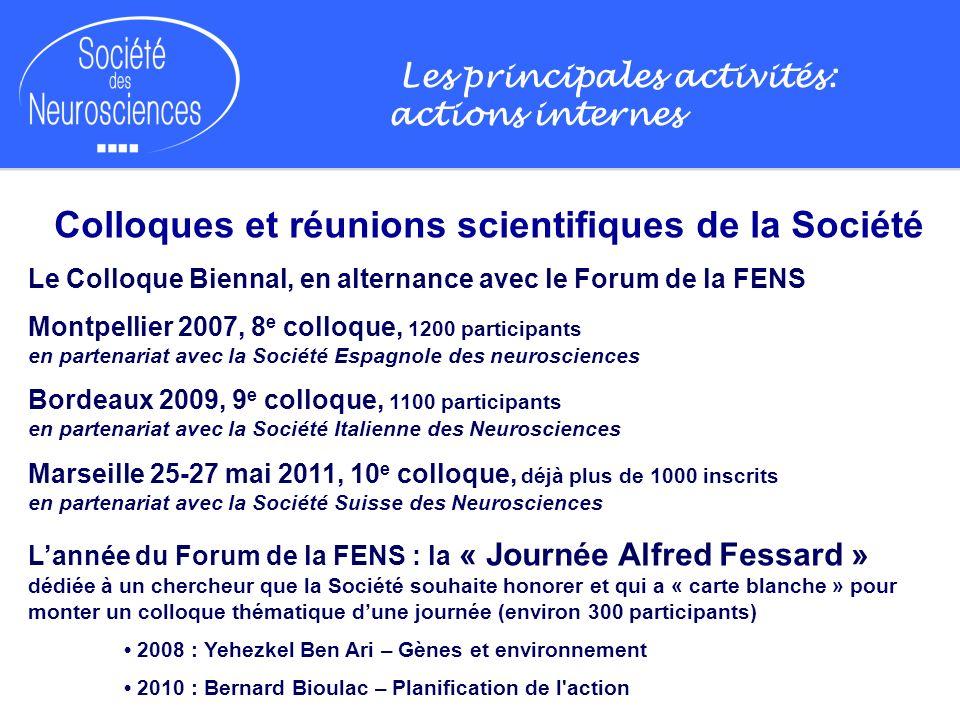 Les principales activités: actions internes Colloques et réunions scientifiques de la Société Le Colloque Biennal, en alternance avec le Forum de la F