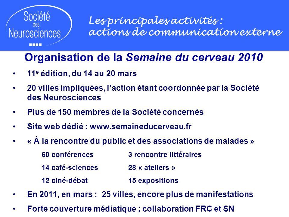 Les principales activités : actions de communication externe Organisation de la Semaine du cerveau 2010 11 e édition, du 14 au 20 mars 20 villes impli