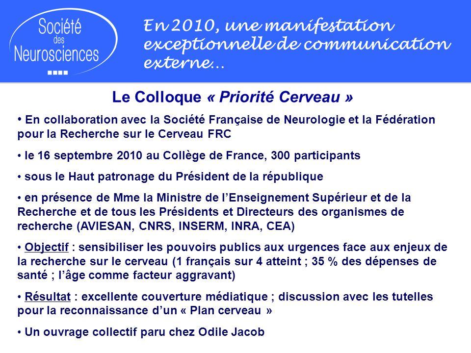 En 2010, une manifestation exceptionnelle de communication externe… Le Colloque « Priorité Cerveau » En collaboration avec la Société Française de Neu