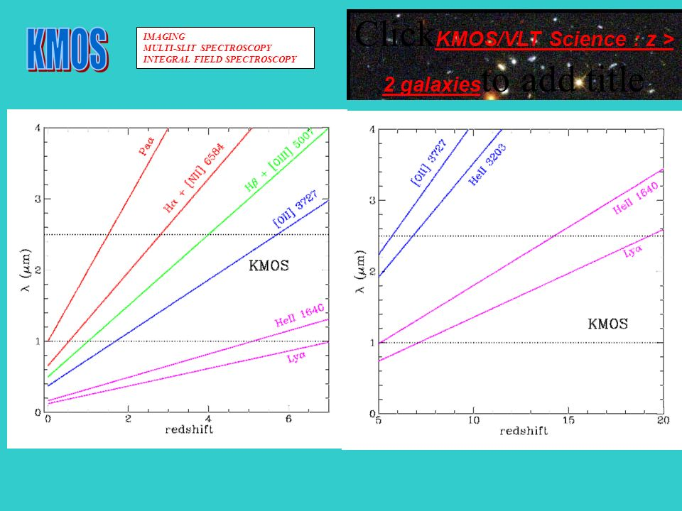 Click KMOS/VLT Science : z > 2 galaxies to add title IMAGING MULTI-SLIT SPECTROSCOPY INTEGRAL FIELD SPECTROSCOPY