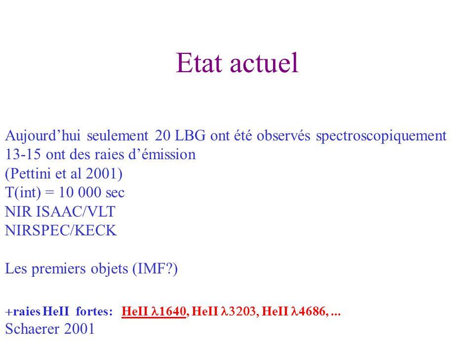 Etat actuel Aujourdhui seulement 20 LBG ont été observés spectroscopiquement 13-15 ont des raies démission (Pettini et al 2001) T(int) = 10 000 sec NIR ISAAC/VLT NIRSPEC/KECK Les premiers objets (IMF ) raies HeII fortes: HeII 1640, HeII HeII 4686,...