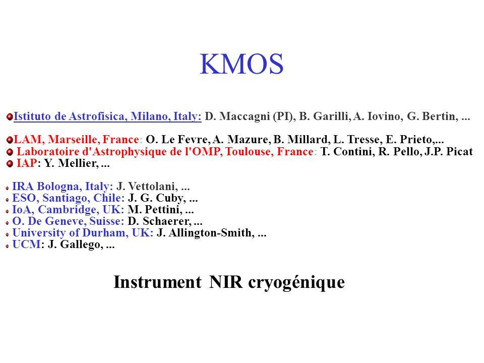 KMOS Istituto de Astrofisica, Milano, Italy: D. Maccagni (PI), B.