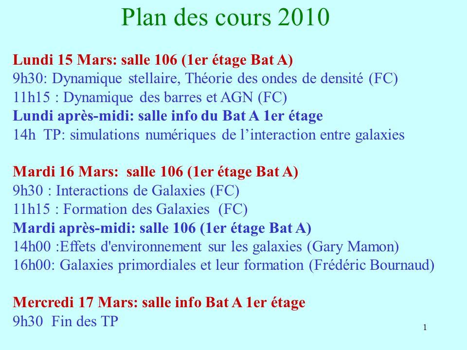 1 Plan des cours 2010 Lundi 15 Mars: salle 106 (1er étage Bat A) 9h30: Dynamique stellaire, Théorie des ondes de densité (FC) 11h15 : Dynamique des barres et AGN (FC) Lundi après-midi: salle info du Bat A 1er étage 14h TP: simulations numériques de linteraction entre galaxies Mardi 16 Mars: salle 106 (1er étage Bat A) 9h30 : Interactions de Galaxies (FC) 11h15 : Formation des Galaxies (FC) Mardi après-midi: salle 106 (1er étage Bat A) 14h00 :Effets d environnement sur les galaxies (Gary Mamon) 16h00: Galaxies primordiales et leur formation (Frédéric Bournaud) Mercredi 17 Mars: salle info Bat A 1er étage 9h30 Fin des TP