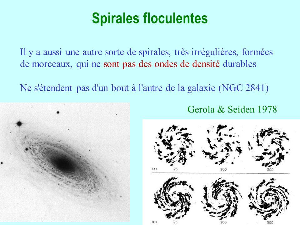 23 Spirales floculentes Il y a aussi une autre sorte de spirales, très irrégulières, formées de morceaux, qui ne sont pas des ondes de densité durables Ne s étendent pas d un bout à l autre de la galaxie (NGC 2841) Gerola & Seiden 1978