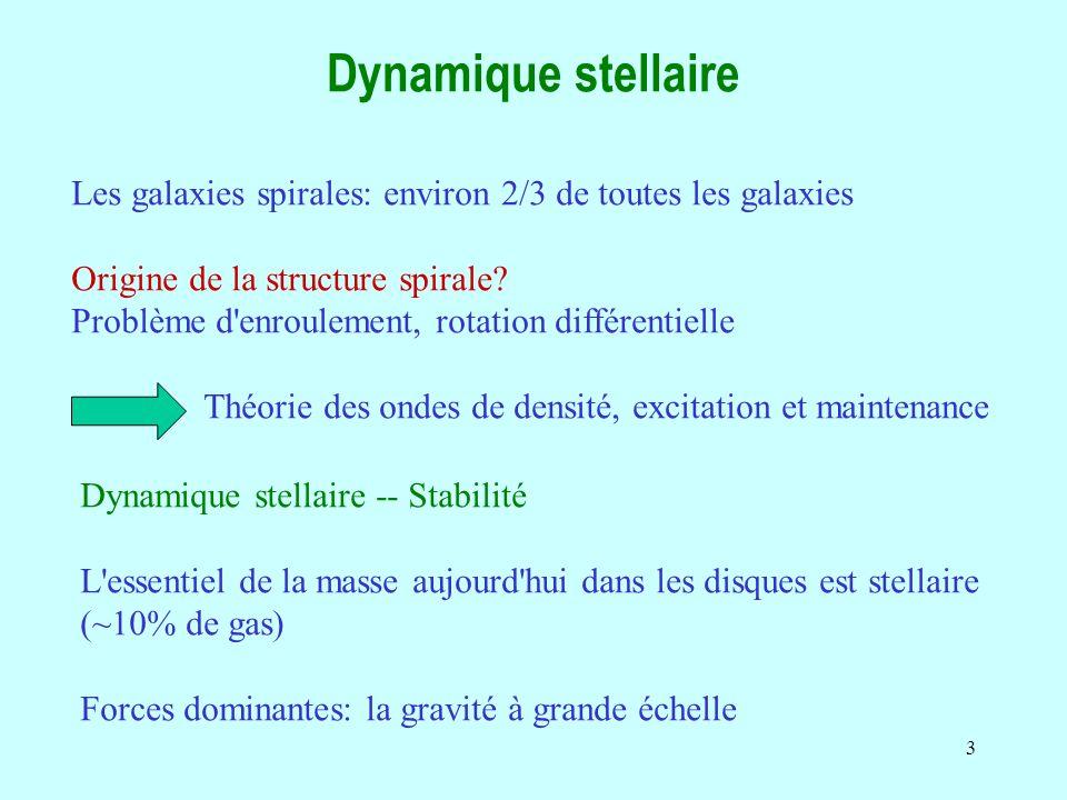 14 Stabilité due à la rotation La rotation stabilise les grandes échelles En quelques sorte les forces de marées détruisent toute structure plus grande qu une certaine taille L crit Forces de marée F tid = d(Ω 2 R)/dR ΔR ~ κ 2 ΔR Ω fréquence de rotation angulaire κ fréquence épicyclique (cf plus loin) Forces de gravité internes de la condensation ΔR (G Σ π ΔR 2 )/ ΔR 2 = F tid L crit ~ G Σ / κ 2 L crit = λ J σ crit ~ π G Σ / κ Q = σ/ σ crit > 1 Q paramètre de Toomre