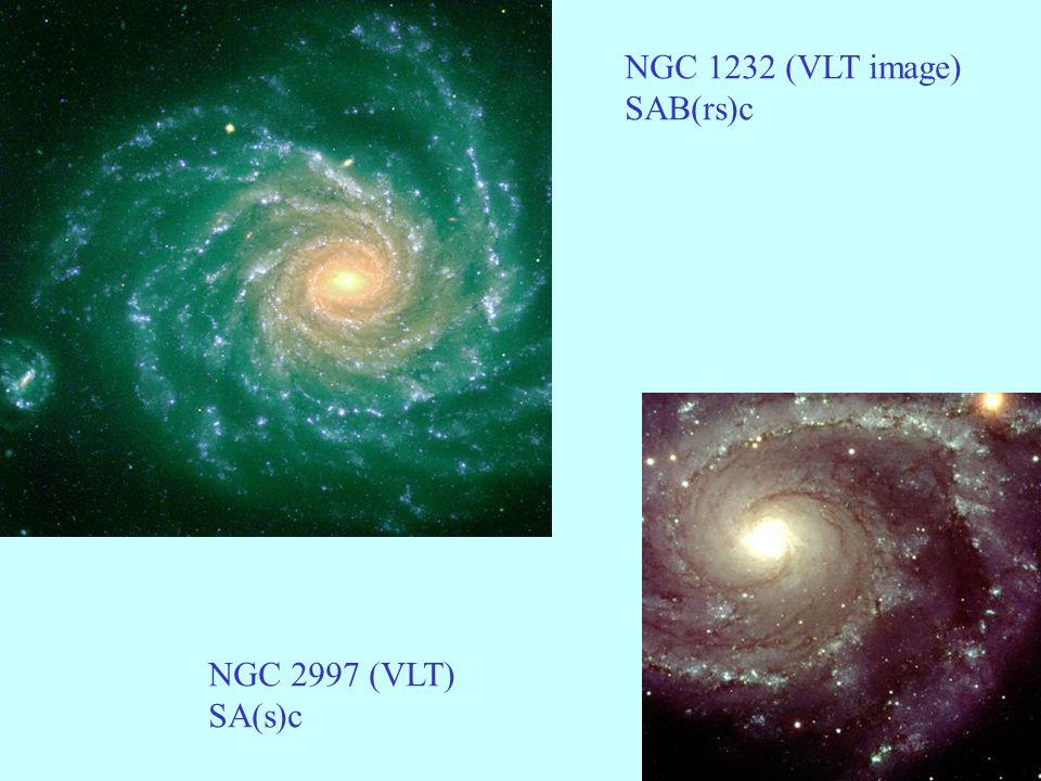 45 Triaxialité des elliptiques Les tests sur les observations montrent que les galaxies E sont triaxiales Avec triaxialité et variation de l ellipticité avec le rayon il y a rotation des isophotes Pas forcément une déformation!