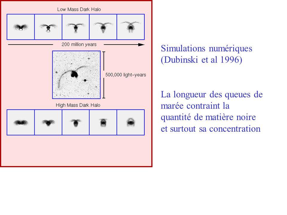 Simulations numériques (Dubinski et al 1996) La longueur des queues de marée contraint la quantité de matière noire et surtout sa concentration