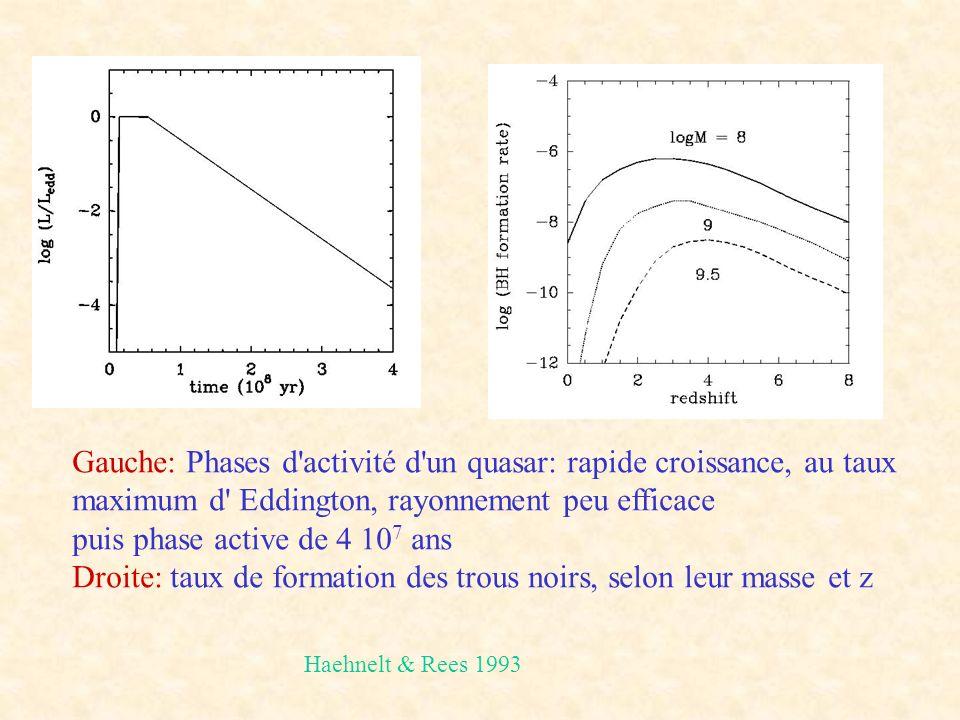 Gauche: Phases d activité d un quasar: rapide croissance, au taux maximum d Eddington, rayonnement peu efficace puis phase active de 4 10 7 ans Droite: taux de formation des trous noirs, selon leur masse et z Haehnelt & Rees 1993