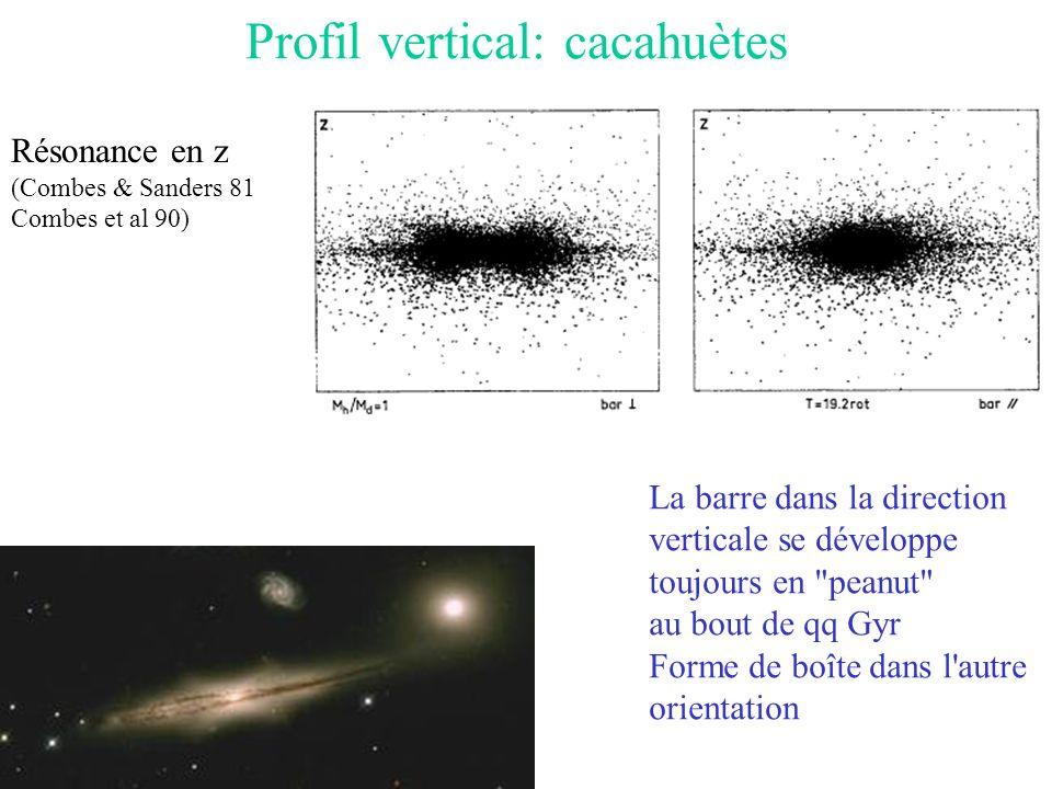 Profil vertical: cacahuètes La barre dans la direction verticale se développe toujours en peanut au bout de qq Gyr Forme de boîte dans l autre orientation Résonance en z (Combes & Sanders 81 Combes et al 90)