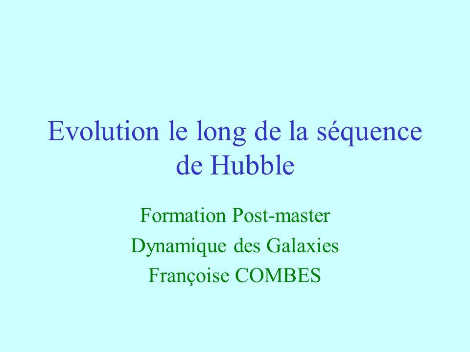 62 Conclusions Les galaxies ne sont pas réparties sur la séquence de Hubble de façon immuable Les barres apparaissent et disparaissent, plusieurs épisodes barrés selon la quantité de gaz accrétée Les galaxies ne sont pas des systèmes complétement formés Ils continuent leur formation tout au long de l âge de l Univers Soit par évolution séculaire, interne Soit par intéraction entre galaxies, fusions et accrétions