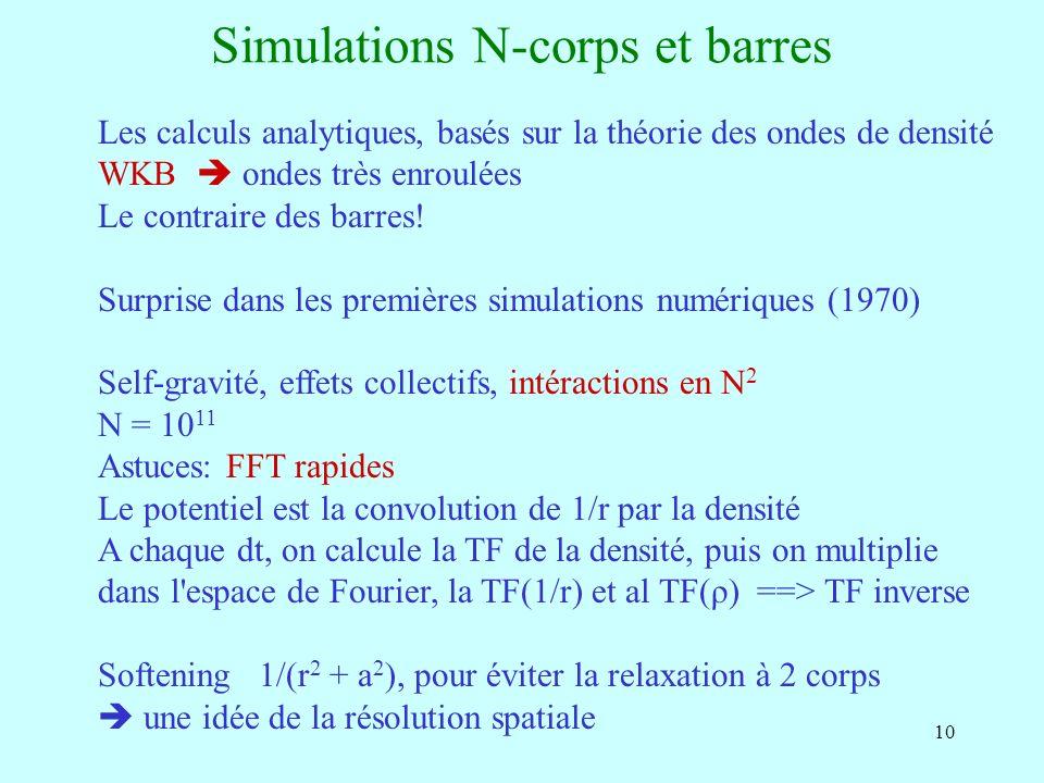 10 Simulations N-corps et barres Les calculs analytiques, basés sur la théorie des ondes de densité WKB ondes très enroulées Le contraire des barres!