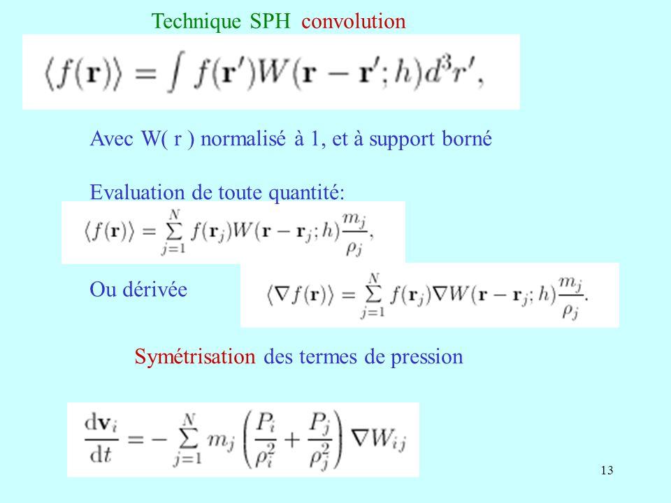 13 Avec W( r ) normalisé à 1, et à support borné Evaluation de toute quantité: Symétrisation des termes de pression Technique SPH convolution Ou dériv