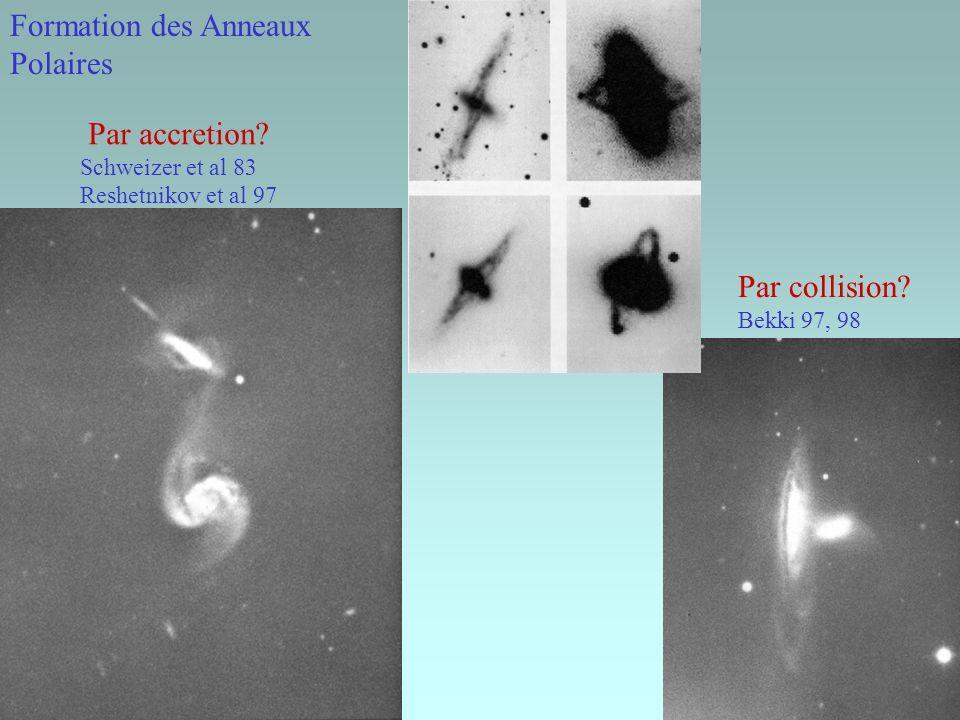 Formation des Anneaux Polaires Par collision? Bekki 97, 98 Par accretion? Schweizer et al 83 Reshetnikov et al 97
