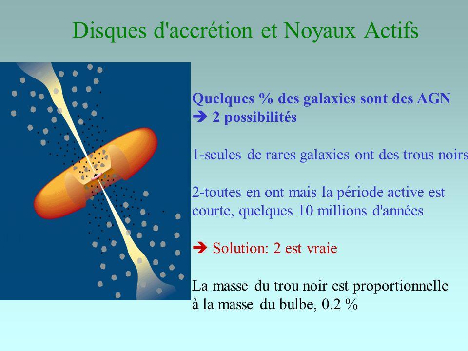 Disques d'accrétion et Noyaux Actifs Quelques % des galaxies sont des AGN 2 possibilités 1-seules de rares galaxies ont des trous noirs 2-toutes en on