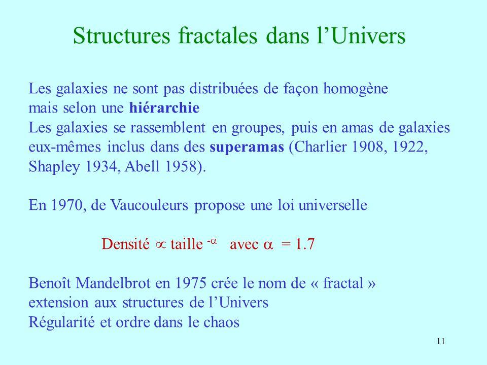11 Structures fractales dans lUnivers Les galaxies ne sont pas distribuées de façon homogène mais selon une hiérarchie Les galaxies se rassemblent en