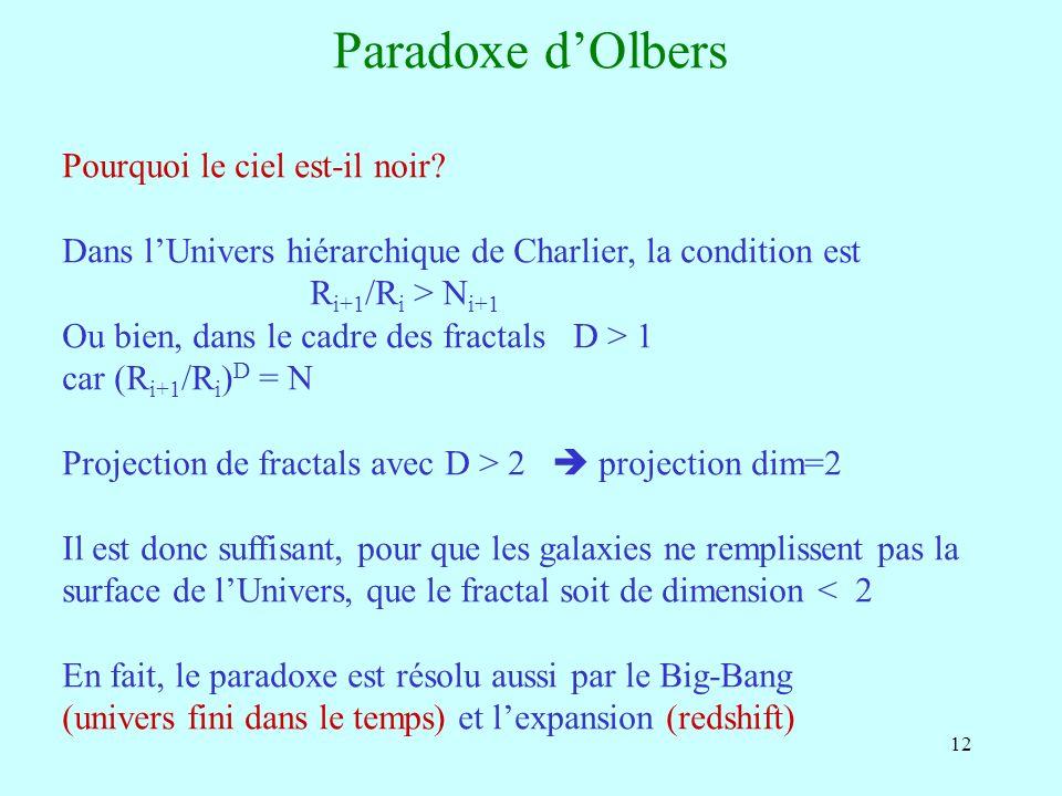 12 Paradoxe dOlbers Pourquoi le ciel est-il noir? Dans lUnivers hiérarchique de Charlier, la condition est R i+1 /R i > N i+1 Ou bien, dans le cadre d