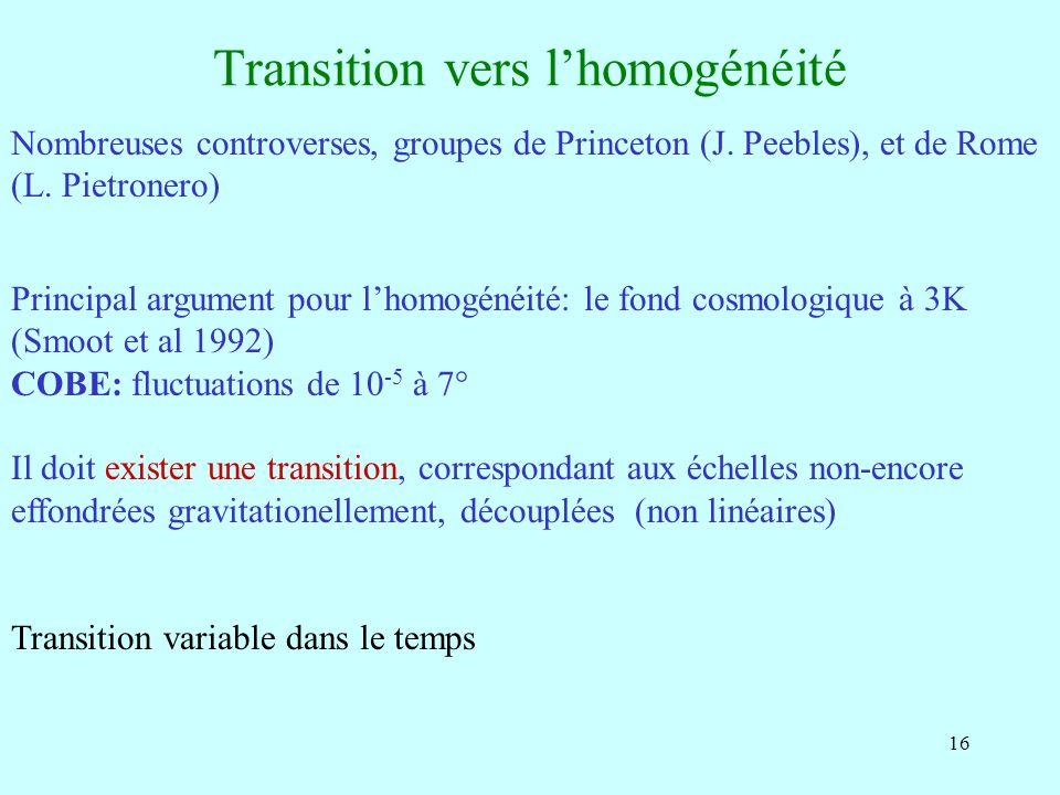 16 Transition vers lhomogénéité Nombreuses controverses, groupes de Princeton (J. Peebles), et de Rome (L. Pietronero) Principal argument pour lhomogé