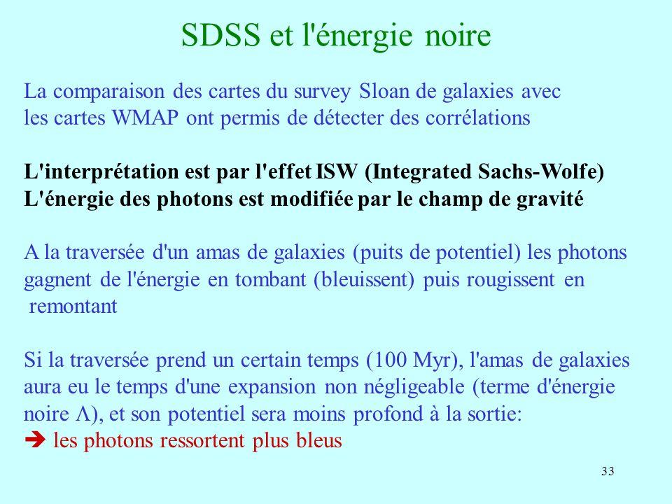 33 SDSS et l'énergie noire La comparaison des cartes du survey Sloan de galaxies avec les cartes WMAP ont permis de détecter des corrélations L'interp
