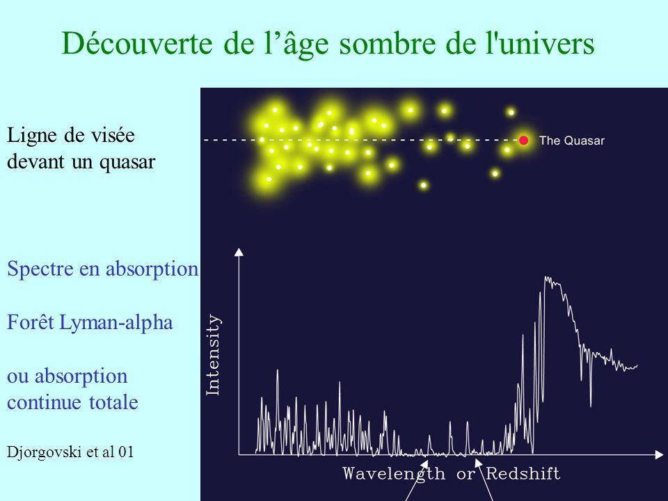 36 Découverte de lâge sombre de l'univers Ligne de visée devant un quasar Spectre en absorption Forêt Lyman-alpha ou absorption continue totale Djorgo