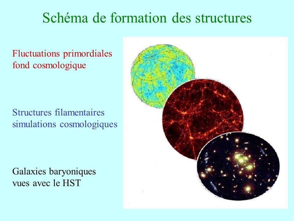 48 Schéma de formation des structures Fluctuations primordiales fond cosmologique Structures filamentaires simulations cosmologiques Galaxies baryoniq