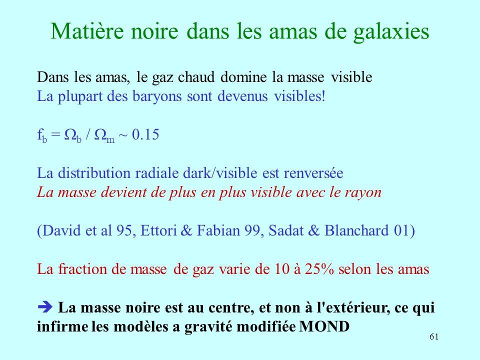 61 Matière noire dans les amas de galaxies Dans les amas, le gaz chaud domine la masse visible La plupart des baryons sont devenus visibles! f b = b /