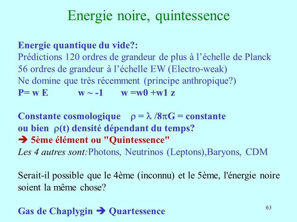 63 Energie noire, quintessence Energie quantique du vide?: Prédictions 120 ordres de grandeur de plus à léchelle de Planck 56 ordres de grandeur à léc