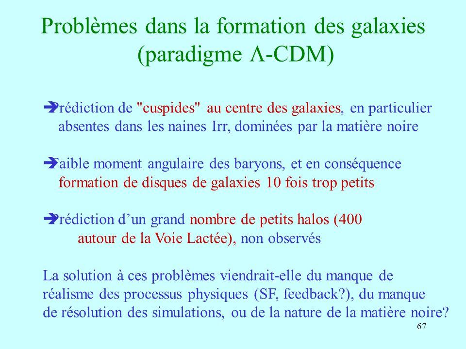 67 Problèmes dans la formation des galaxies (paradigme -CDM) Prédiction de