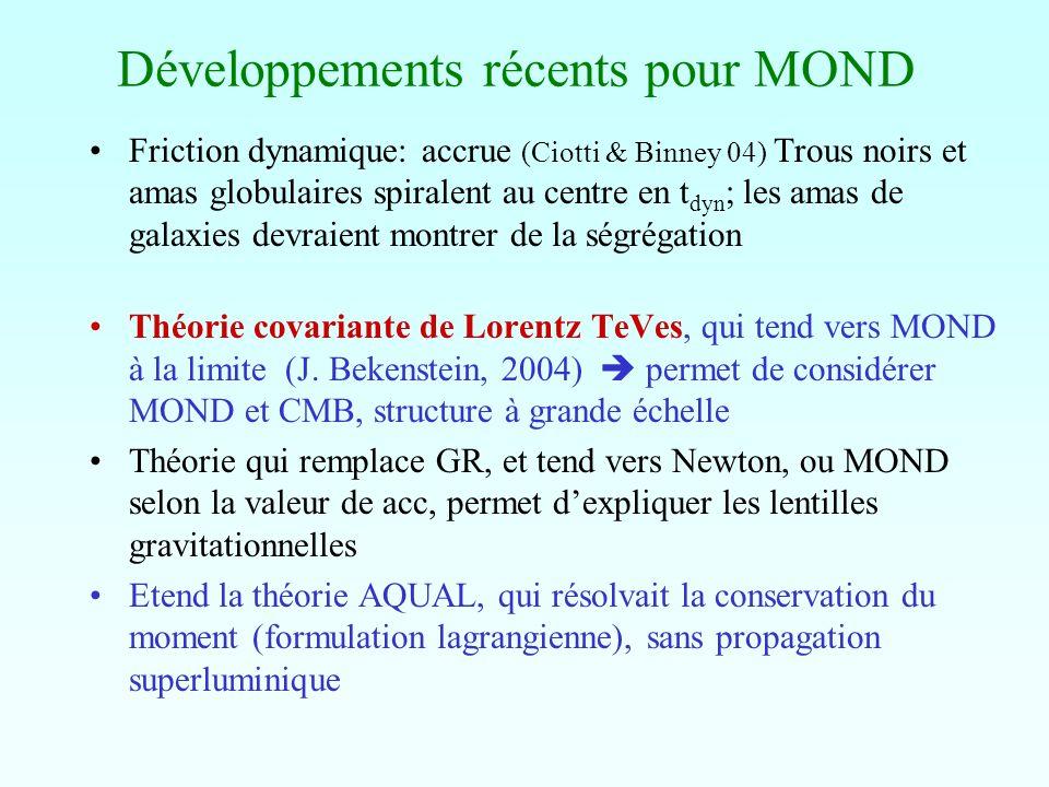 Développements récents pour MOND Friction dynamique: accrue (Ciotti & Binney 04) Trous noirs et amas globulaires spiralent au centre en t dyn ; les am