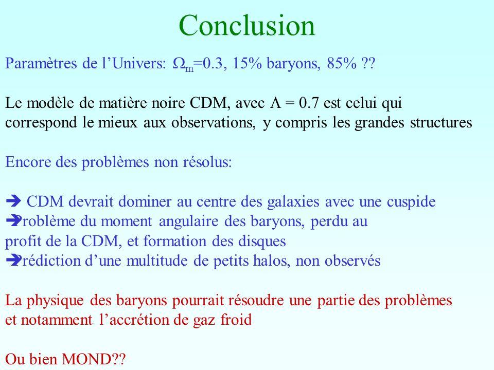 Conclusion Paramètres de lUnivers: m =0.3, 15% baryons, 85% ?? Le modèle de matière noire CDM, avec = 0.7 est celui qui correspond le mieux aux observ