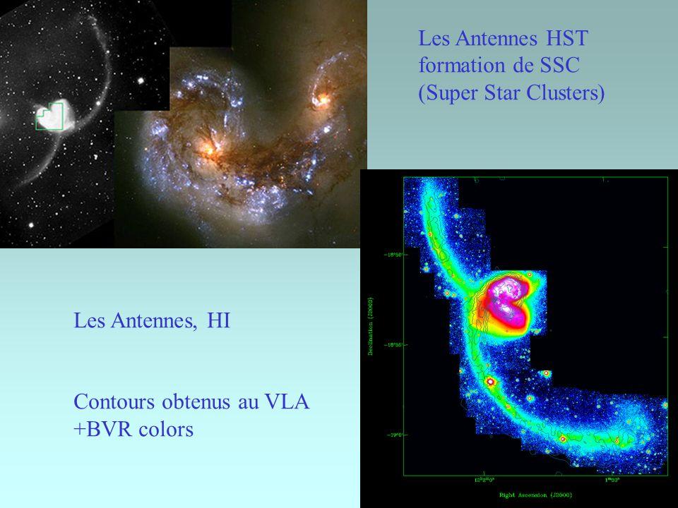Les Antennes HST formation de SSC (Super Star Clusters) Les Antennes, HI Contours obtenus au VLA +BVR colors