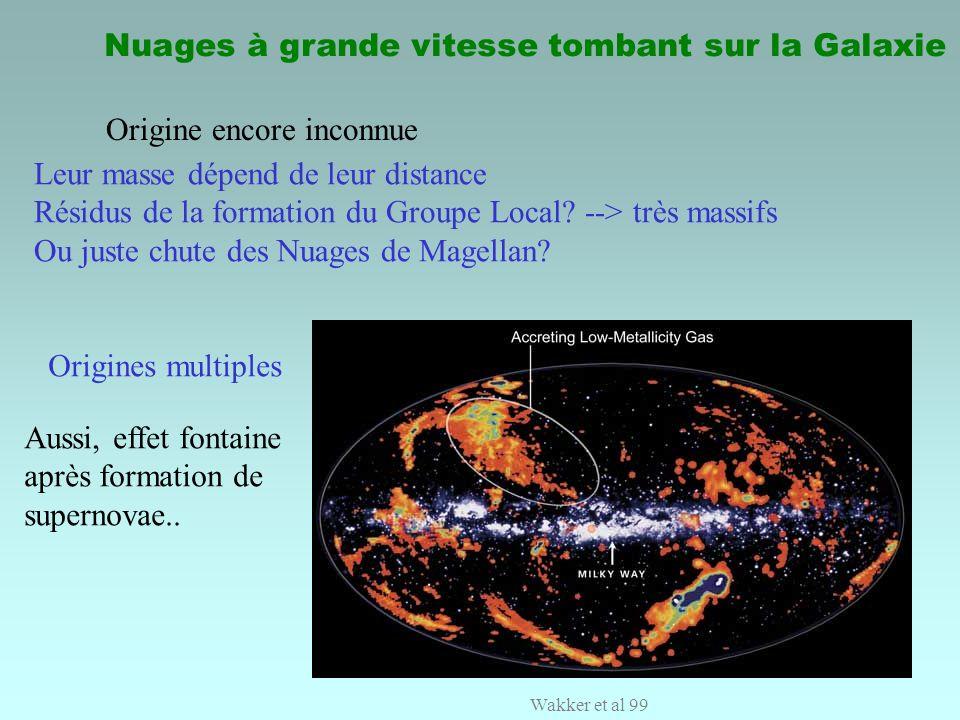 Nuages à grande vitesse tombant sur la Galaxie Origine encore inconnue Leur masse dépend de leur distance Résidus de la formation du Groupe Local? -->