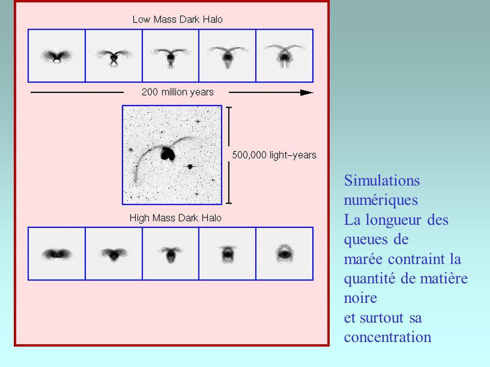 Simulations numériques La longueur des queues de marée contraint la quantité de matière noire et surtout sa concentration