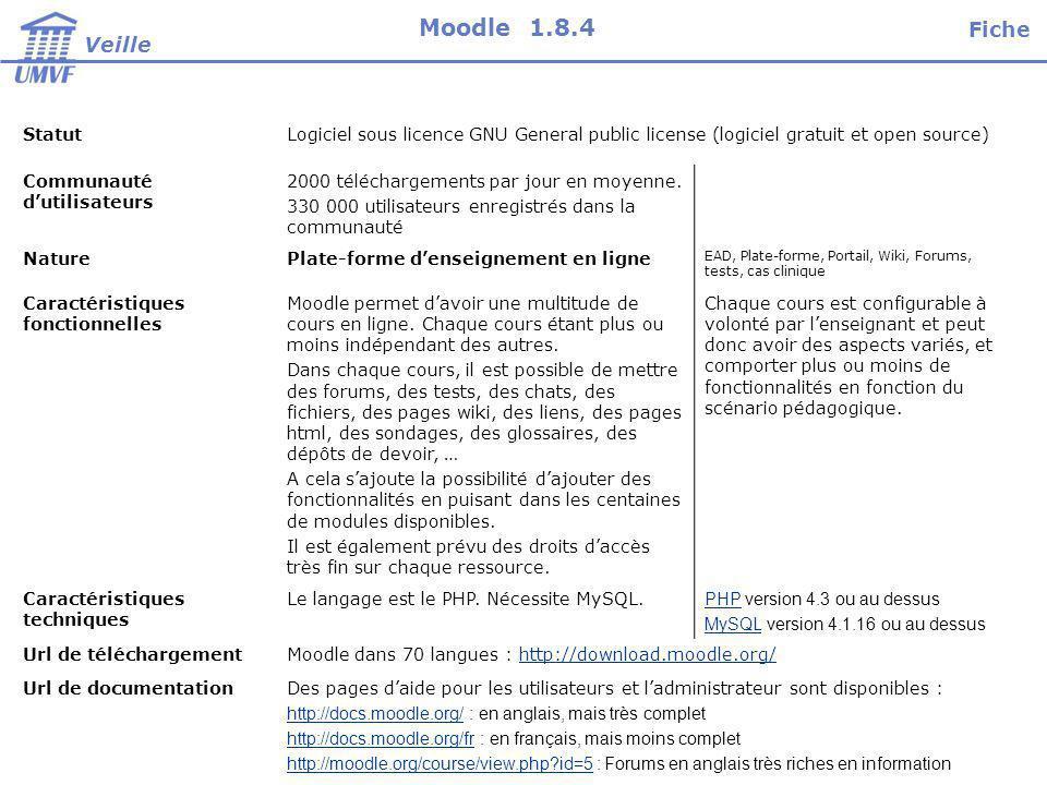 StatutLogiciel sous licence GNU General public license (logiciel gratuit et open source) Communauté dutilisateurs 2000 téléchargements par jour en moyenne.